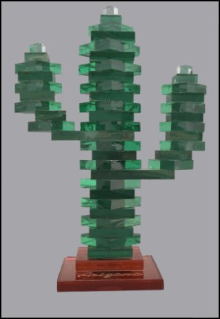 Stacked Saguaro Cactus with Copper Base